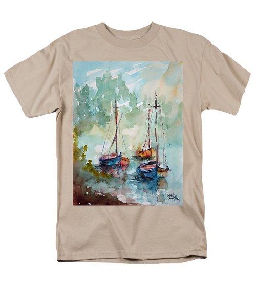 Boats On Lake  Men's T-Shirt  (Regular Fit) by Faruk Koksal