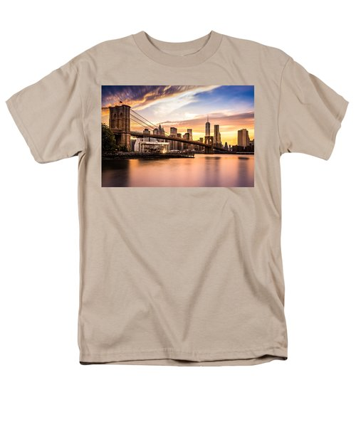 Brooklyn Bridge At Sunset  Men's T-Shirt  (Regular Fit) by Mihai Andritoiu