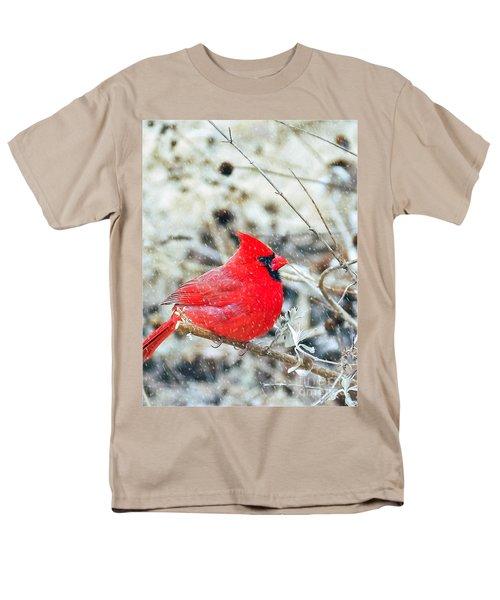 Cardinal Bird Christmas Card Men's T-Shirt  (Regular Fit) by Peggy Franz
