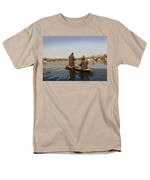 Cartoon - Kashmiri Men Plying A Wooden Boat In The Dal Lake In Srinagar Men's T-Shirt  (Regular Fit) by Ashish Agarwal