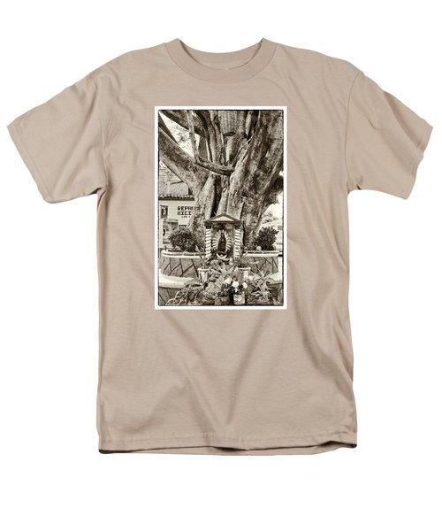 Men's T-Shirt  (Regular Fit) featuring the photograph Catholic Shrine - Our Lady Of Guadalupe, Mexico - Travel Photography By David Perry Lawrence by David Perry Lawrence