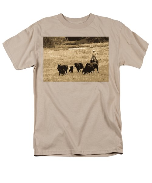 Cattle Round Up Sepia Men's T-Shirt  (Regular Fit) by Athena Mckinzie