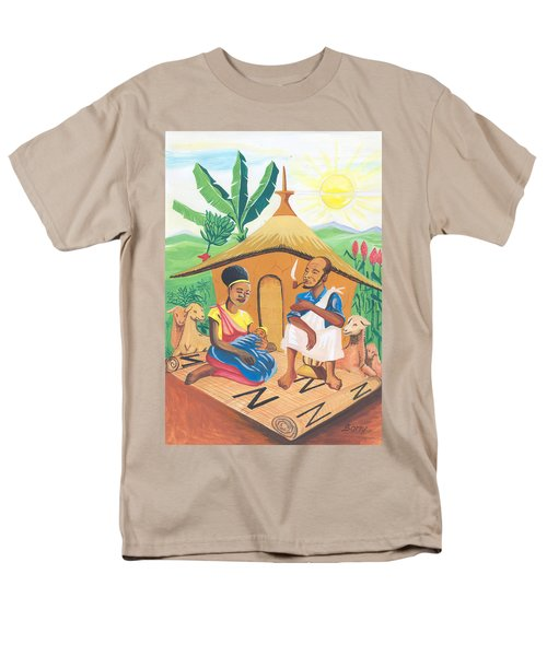 Men's T-Shirt  (Regular Fit) featuring the painting Celebration Of The Nativity In Rwanda by Emmanuel Baliyanga
