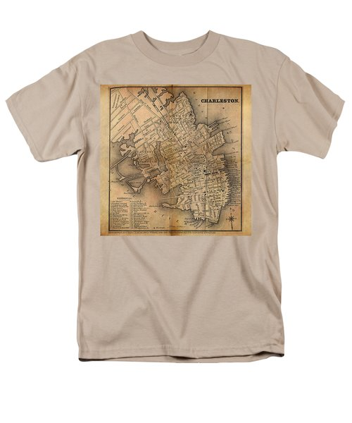 Men's T-Shirt  (Regular Fit) featuring the painting Charleston Vintage Map No. I by James Christopher Hill