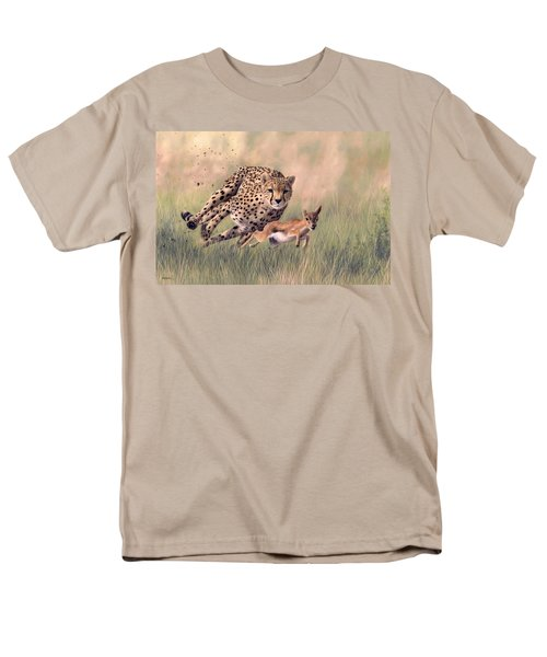 Cheetah And Gazelle Painting Men's T-Shirt  (Regular Fit) by Rachel Stribbling