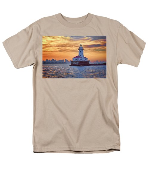 Chicago Lighthouse Impression Men's T-Shirt  (Regular Fit) by John Hansen