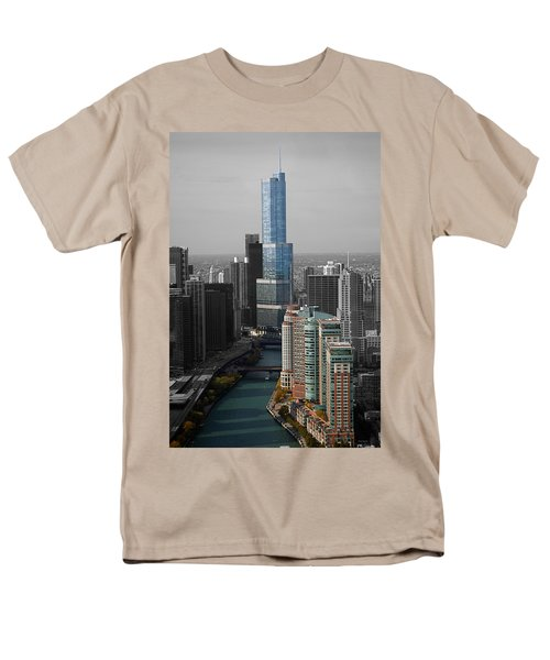 Chicago Trump Tower Blue Selective Coloring Men's T-Shirt  (Regular Fit) by Thomas Woolworth