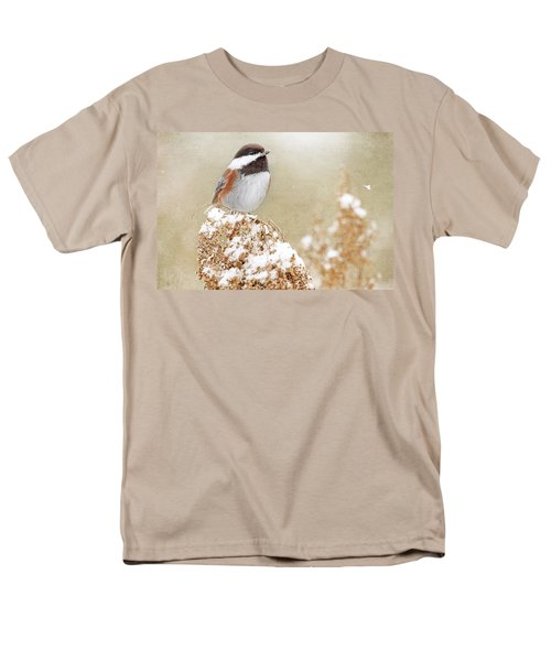 Chickadee And Falling Snow Men's T-Shirt  (Regular Fit) by Peggy Collins