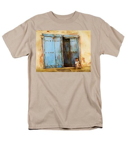 Child Sitting In Old Zanzibar Doorway Men's T-Shirt  (Regular Fit) by Sher Nasser