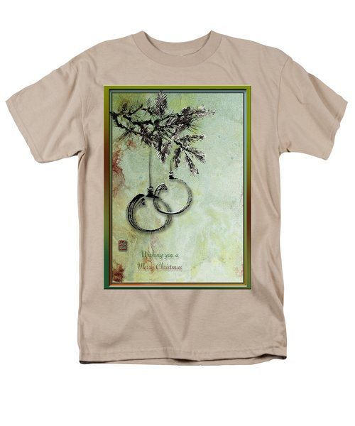 Men's T-Shirt  (Regular Fit) featuring the painting Christmas Greeting Card With Ink Brush Drawing by Peter v Quenter