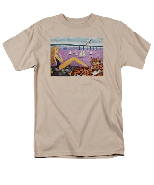 Men's T-Shirt  (Regular Fit) featuring the painting Coronado Bridge   San Diego by Jasna Gopic