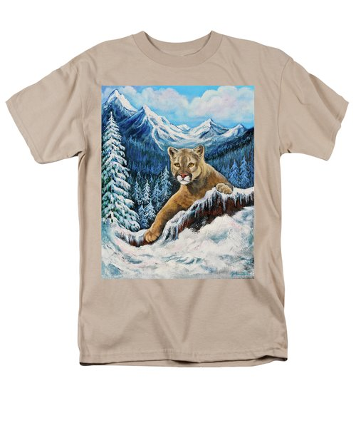 Men's T-Shirt  (Regular Fit) featuring the painting Cougar Sedona Red Rocks  by Bob and Nadine Johnston