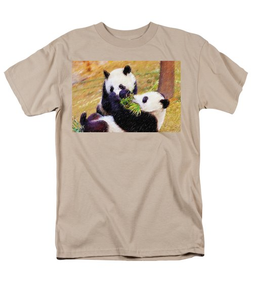 Men's T-Shirt  (Regular Fit) featuring the painting Cute Pandas Play Together by Lanjee Chee