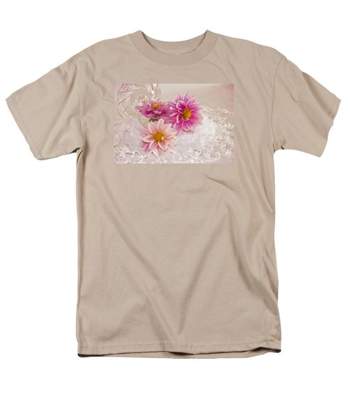 Men's T-Shirt  (Regular Fit) featuring the photograph Dahlias And Lace by Sandra Foster