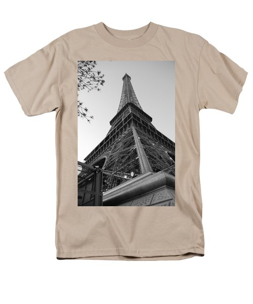 Men's T-Shirt  (Regular Fit) featuring the photograph Eiffel Tower In Black And White by Jennifer Ancker