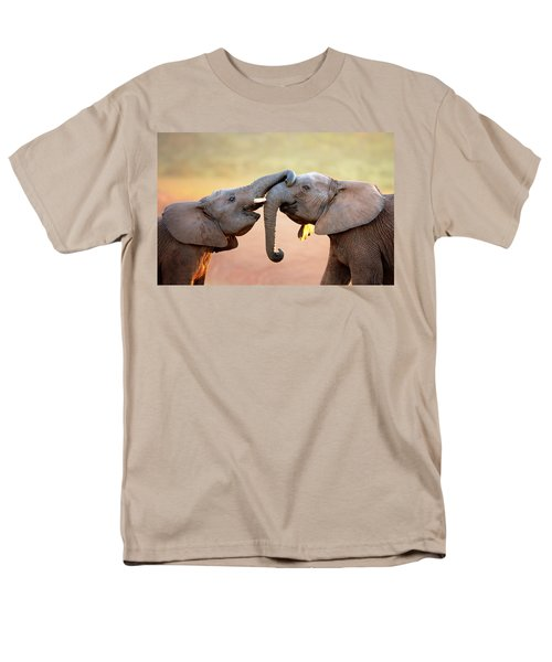 Elephants Touching Each Other Men's T-Shirt  (Regular Fit) by Johan Swanepoel