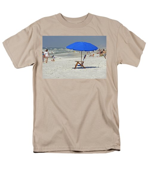 Men's T-Shirt  (Regular Fit) featuring the photograph Empty Beach Chair by Charles Beeler