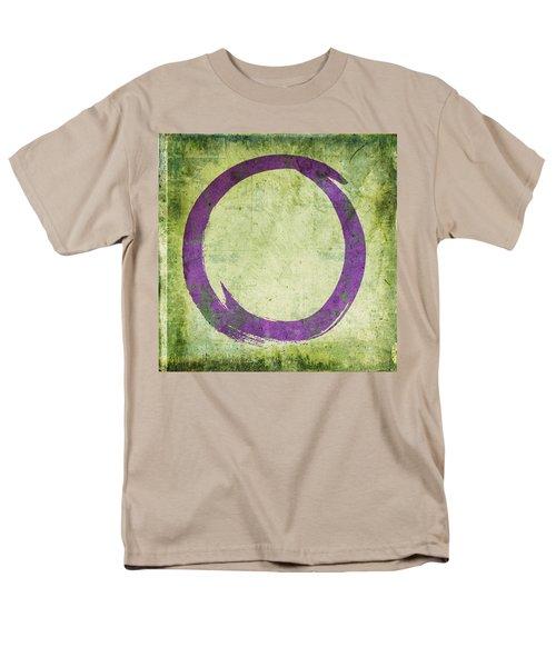 Enso No. 108 Purple On Green Men's T-Shirt  (Regular Fit) by Julie Niemela
