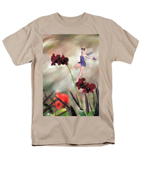 Fairy In The Orchid Garden Men's T-Shirt  (Regular Fit) by Rosalie Scanlon