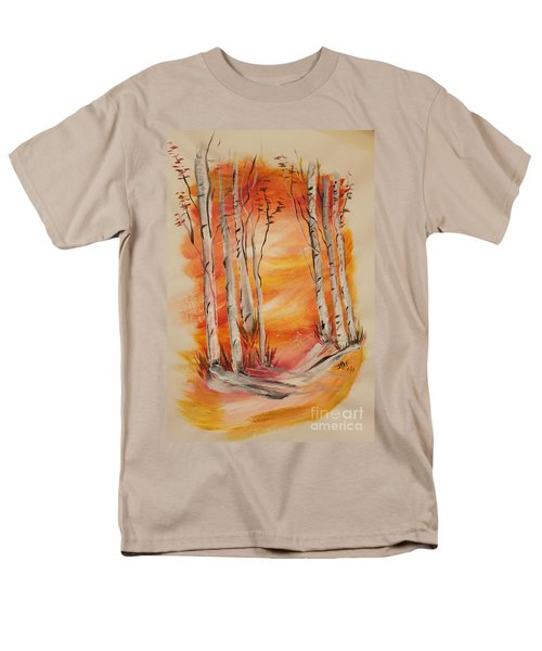 Men's T-Shirt  (Regular Fit) featuring the painting Fall Aspen On Paper by Janice Rae Pariza