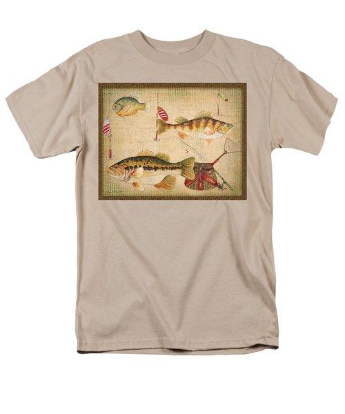Fish Trio-a-basket Weave Border Men's T-Shirt  (Regular Fit) by Jean Plout