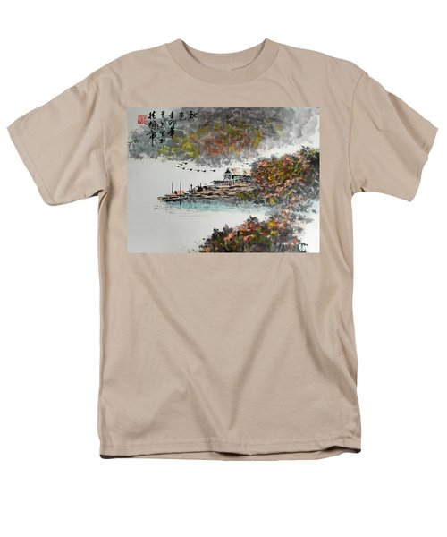 Men's T-Shirt  (Regular Fit) featuring the photograph Fishing Village In Autumn by Yufeng Wang