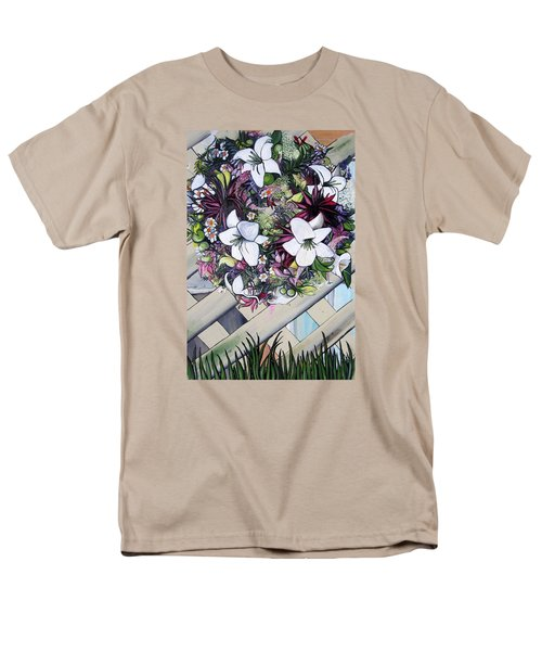 Men's T-Shirt  (Regular Fit) featuring the painting Floral Wreath by Mary Ellen Frazee