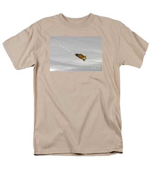 Men's T-Shirt  (Regular Fit) featuring the photograph Fox In The Snow-signed by J L Woody Wooden