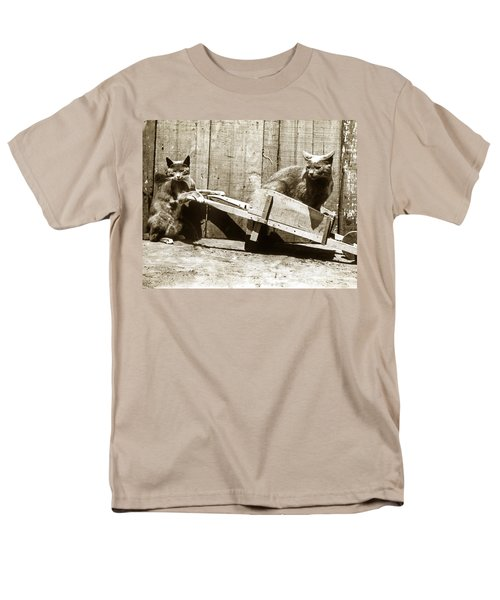 Men's T-Shirt  (Regular Fit) featuring the photograph Fun With Cats Henry King Nourse Photographer Circa 1900 by California Views Mr Pat Hathaway Archives
