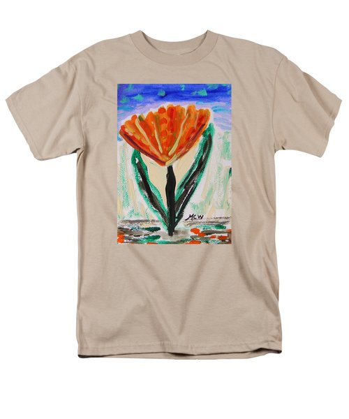 Men's T-Shirt  (Regular Fit) featuring the painting Girl-flowers From The Flower Patch by Mary Carol Williams
