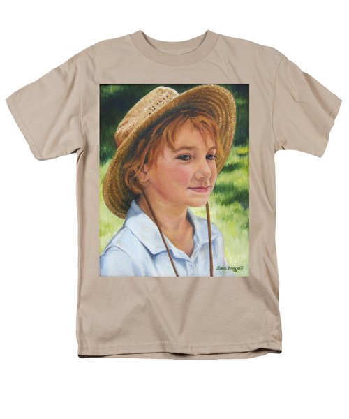 Men's T-Shirt  (Regular Fit) featuring the painting Girl In Straw Hat by Lori Brackett