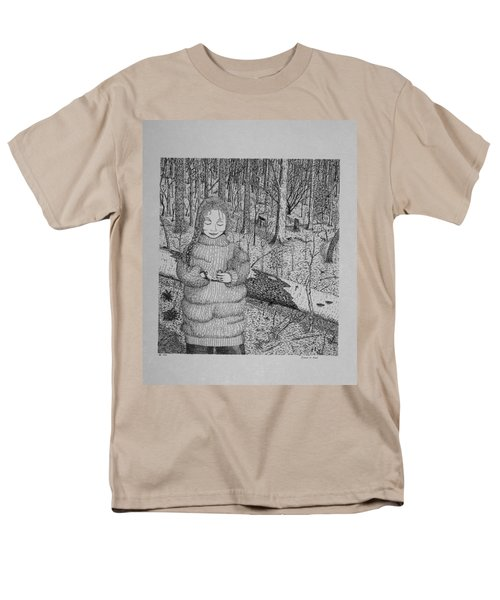 Men's T-Shirt  (Regular Fit) featuring the drawing Girl In The Forest by Daniel Reed