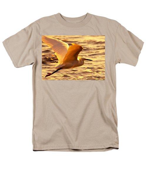 Golden Egret Bird Nature Fine Photography Yellow Orange Print  Men's T-Shirt  (Regular Fit) by Jerry Cowart