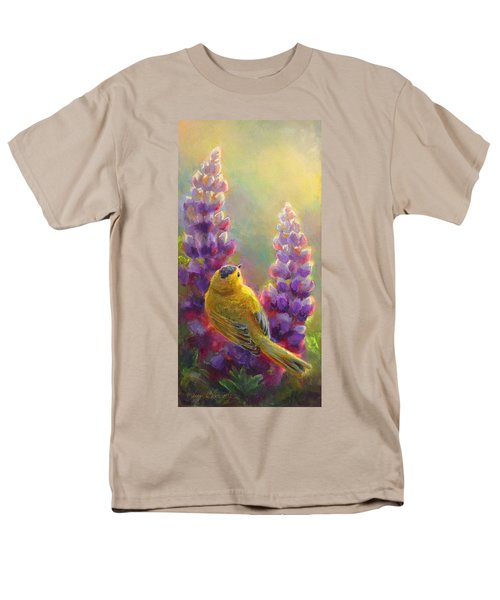 Golden Light 1 Wilsons Warbler And Lupine Men's T-Shirt  (Regular Fit) by Karen Whitworth