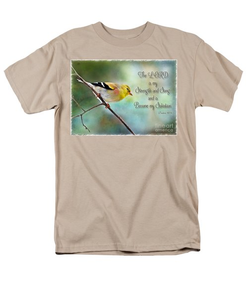 Goldfinch With Rosy Shoulder - Digital Paint And Verse Men's T-Shirt  (Regular Fit) by Debbie Portwood