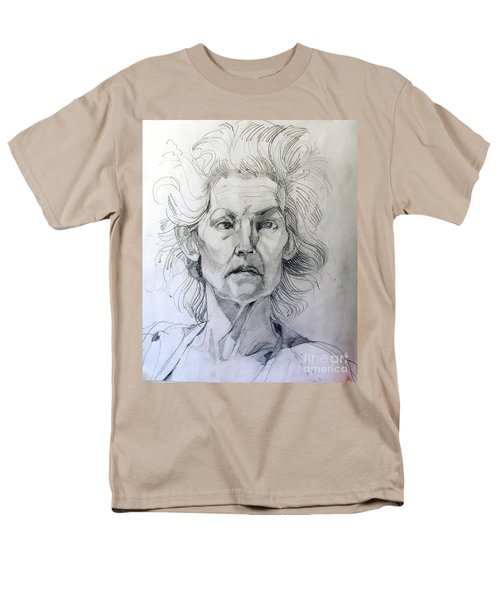 Men's T-Shirt  (Regular Fit) featuring the drawing Graphite Portrait Sketch Of A Well Known Cross Eyed Model by Greta Corens