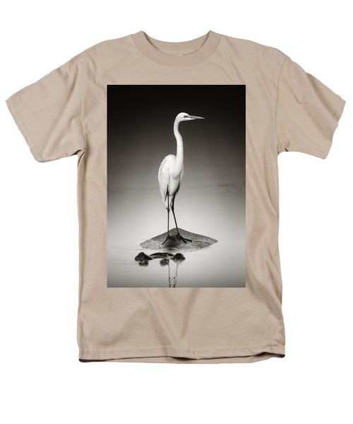 Great White Egret On Hippo Men's T-Shirt  (Regular Fit) by Johan Swanepoel