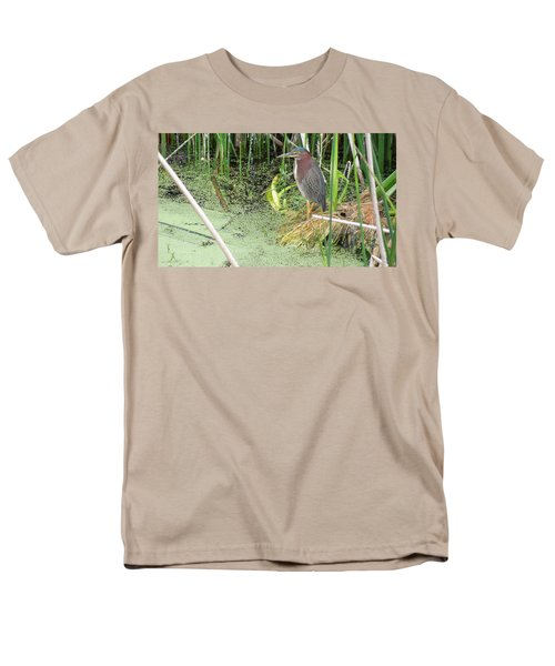 Men's T-Shirt  (Regular Fit) featuring the pyrography Green Heron by Ron Davidson