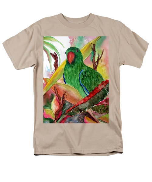 Men's T-Shirt  (Regular Fit) featuring the painting Green Parrot by Lil Taylor