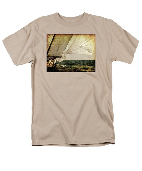 Men's T-Shirt  (Regular Fit) featuring the photograph Hanged On Wind In A Mediterranean Vintage Tall Ship Race  by Pedro Cardona