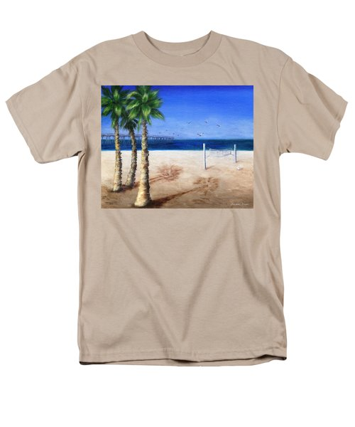 Men's T-Shirt  (Regular Fit) featuring the painting Hermosa Beach Pier by Jamie Frier