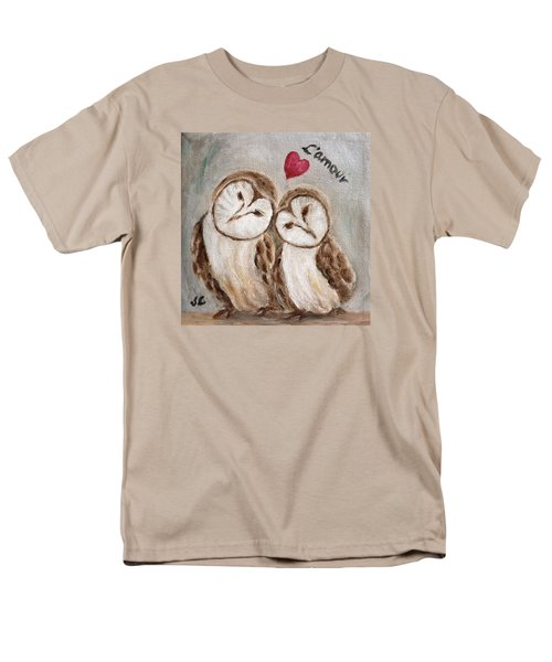 Men's T-Shirt  (Regular Fit) featuring the painting Hiboux Dans L'amour by Victoria Lakes