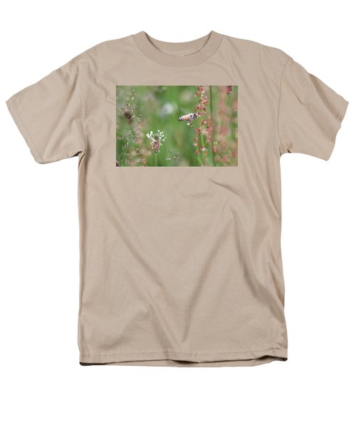 Honeybee Flying In A Meadow Men's T-Shirt  (Regular Fit) by Lucinda VanVleck