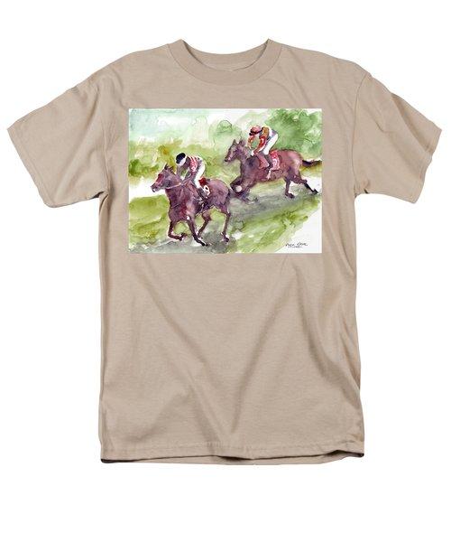 Men's T-Shirt  (Regular Fit) featuring the painting Horse Racing by Faruk Koksal
