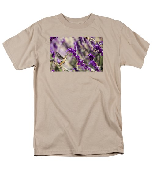 Men's T-Shirt  (Regular Fit) featuring the photograph Hummingbird Collecting Nectar by David Millenheft