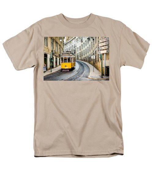 Iconic Lisbon Streetcar No. 28 IIi Men's T-Shirt  (Regular Fit) by Marco Oliveira