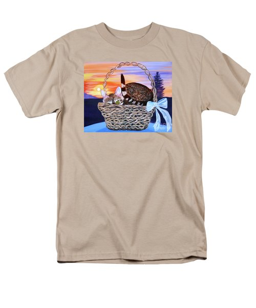 Men's T-Shirt  (Regular Fit) featuring the painting I'm Hiding   Oil Painting by Phyllis Kaltenbach