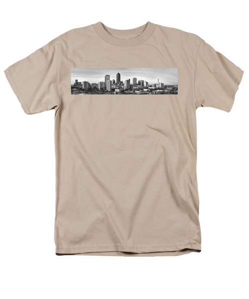 Men's T-Shirt  (Regular Fit) featuring the photograph Jacksonville Skyline Morning Day Black And White Bw Panorama Florida by Jon Holiday