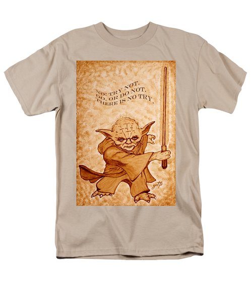 Men's T-Shirt  (Regular Fit) featuring the painting Jedi Yoda Wisdom by Georgeta  Blanaru