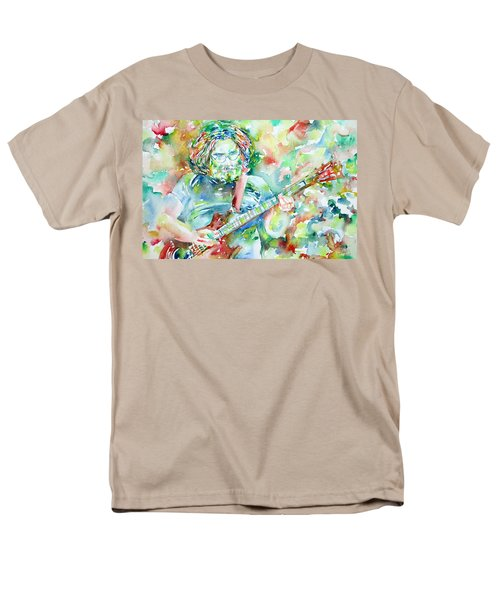 Jerry Garcia Playing The Guitar Watercolor Portrait.3 Men's T-Shirt  (Regular Fit) by Fabrizio Cassetta